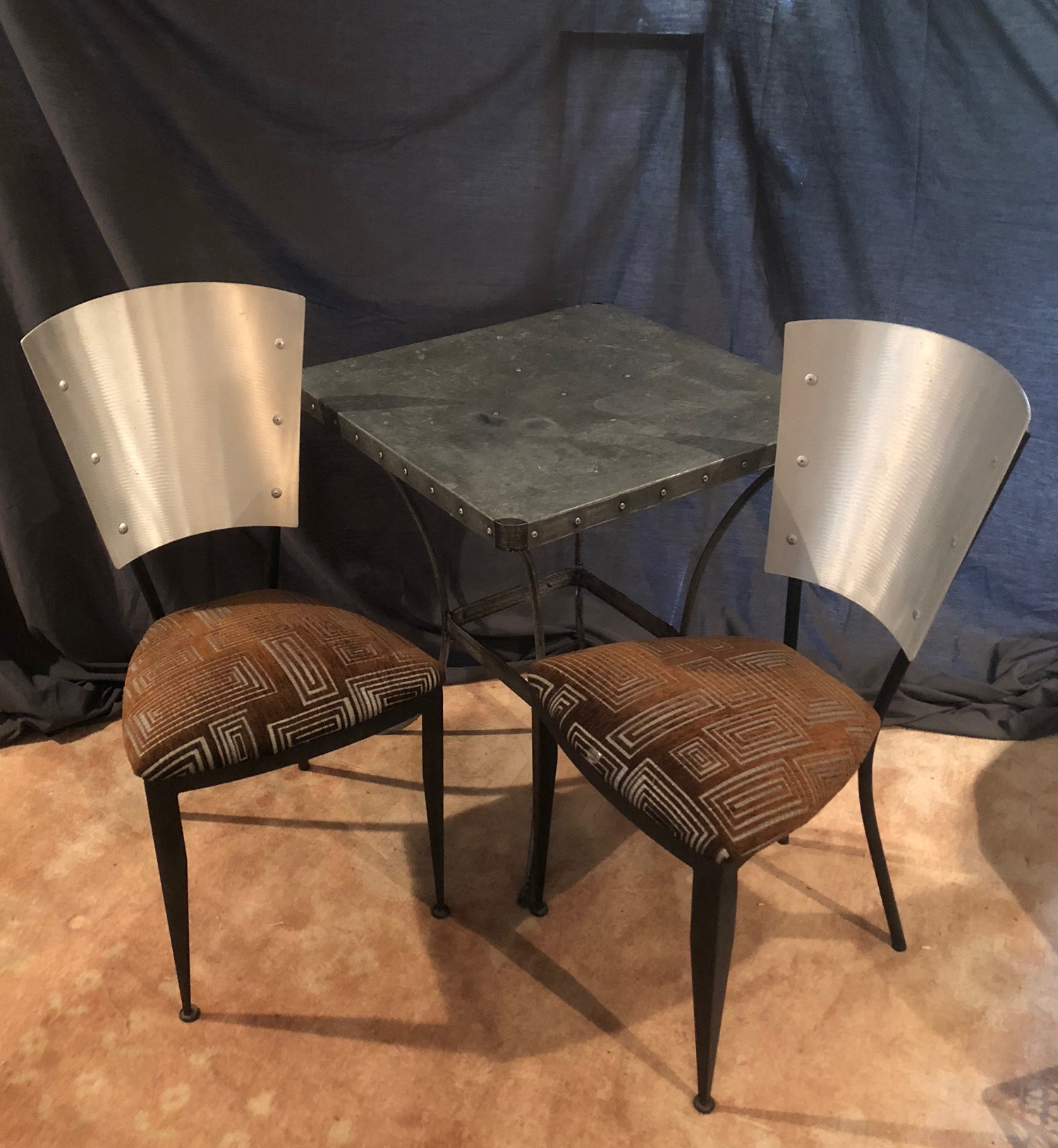 Modern upholstered Metal Bistro Chairs w/Metal Table